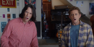 Ted (Keanu Reeves) and Bill (Alex Winter) look surprised in a scene from Bill & Ted Face The Music