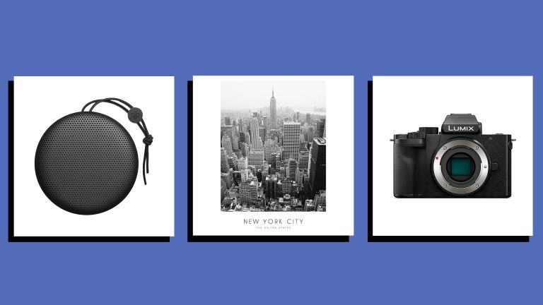 images of three Christmas gifts for men - a Bang & Olufsen speaker, Desenio New York City print and Panasonic Lumix camera - on a blue blackground
