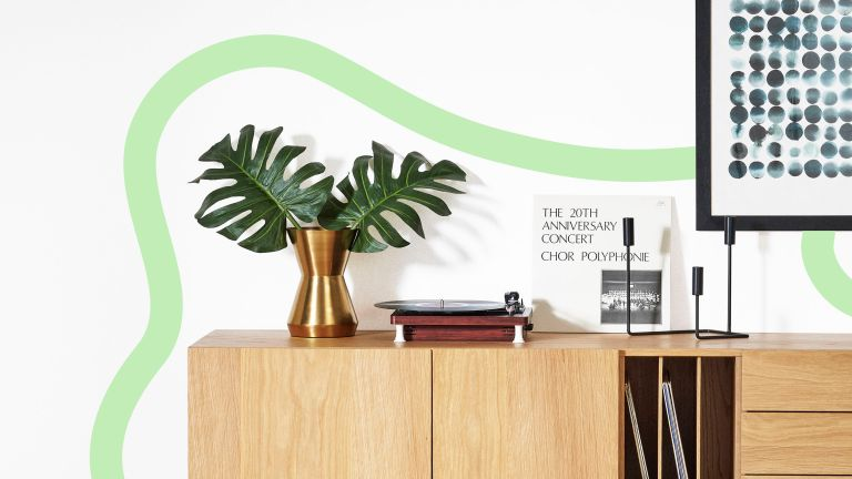 Made sale graphic –oaks sideboard with green doodling