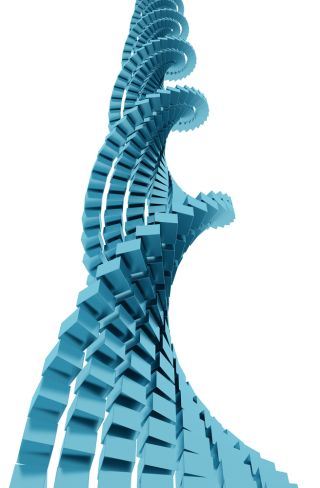 DNA-like illustration of a helix made of blocks