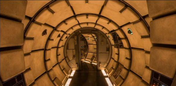 hallway of Millennium Falcon on Smugller's Run attraction