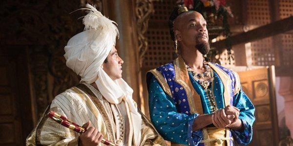 Mena Massoud and Will Smith as Prince Ali and Genie in Aladdin