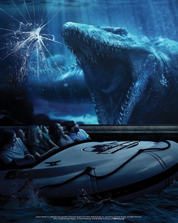 Jurassic World Ride poster , Mosasaurus  and guests in rafts