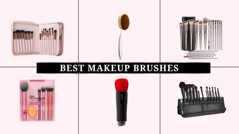 best makeup brushes: collage image of Artis, Real Techniques, Morphe, and more