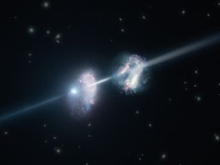 This artist's impression shows two galaxies in the early universe. The brilliant explosion on the left is a gamma-ray burst.