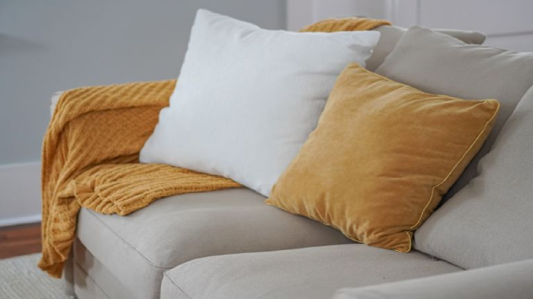 Cushions with piping on a sofa