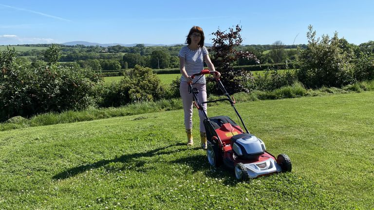 Reviewing the Cobra MX51S80V cordless lawn mower on a large lawn