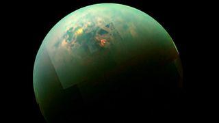 Saturn's moon Titan Hydrocarbon Seas