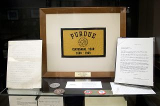 "A Purdue University centennial flag that was flown to the moon on Apollo 11 in 1969 is just one of many items on display in ""Apollo in the Archives: Selections from the Neil A. Armstrong Papers,"" a new exhibition at the Indiana school."