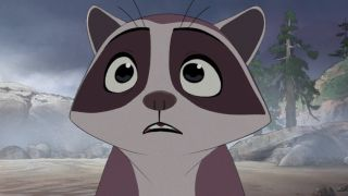 A baby raccoon looking afraid in Disney's Far From the Tree