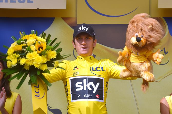 Geraint Thomas in the yellow jersey after stage 2