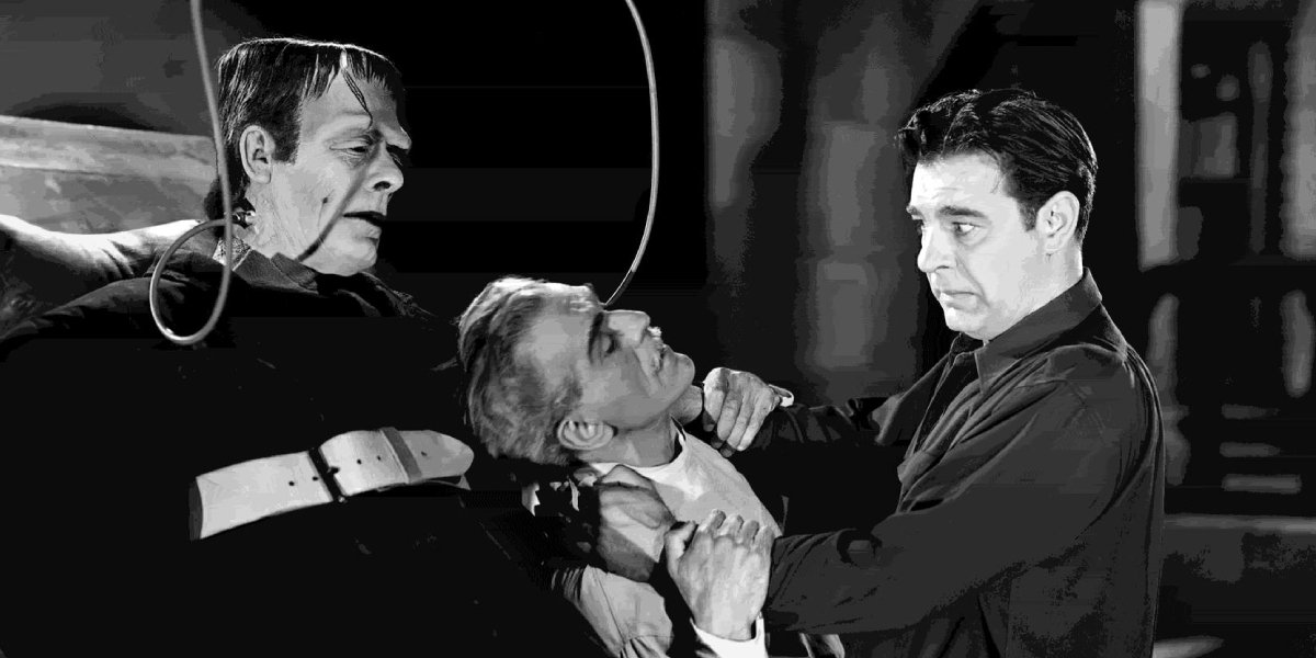 Boris Karloff, Glenn Strange, and Lon Chaney Jr. in House of Frankenstein