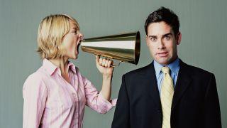 Woman screeching at a man