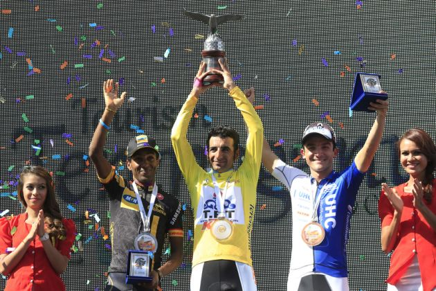 Merhawi Kudus Ghebremedhin, Mirsamad Pourseyedigolakhour and Isaac Bolivar Hernandez on the podium after the final stage of the 2014 Tour of Langkawi