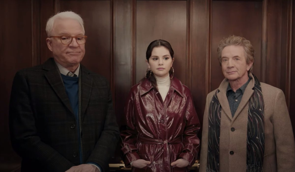 Steve Martin, Selena Gomez, and Martin Short awkwardly share an elevator in Only Murders in the Building.
