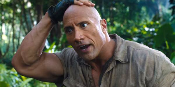 Dwayne Johnson looks pleasantly surprised Jumanji Welcome to the Jungle