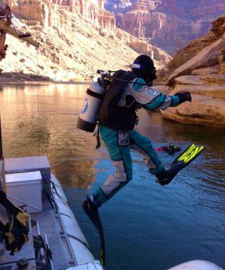 USGS scuba diver enters the Colorado River