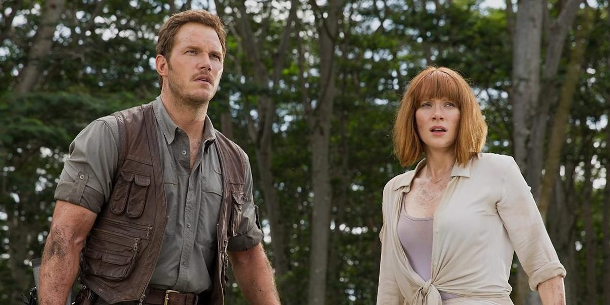 Chris Pratt and Bryce Dallas Howard as Owen and Claire in Jurassic World