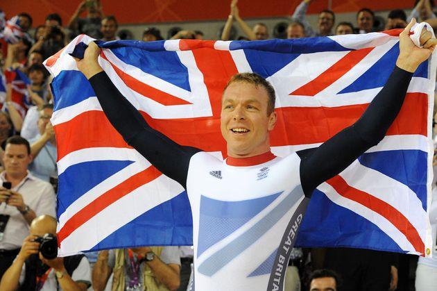 Sir Chris Hoy celebrates, London 2012 Olympic Games, track day six