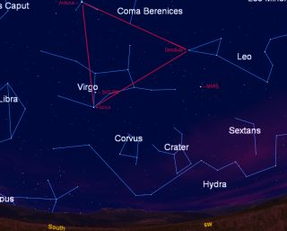 This sky map shows the location of the Spring Triangle of stars, as well as Mars and Saturn, in the southern sky during June 2012.