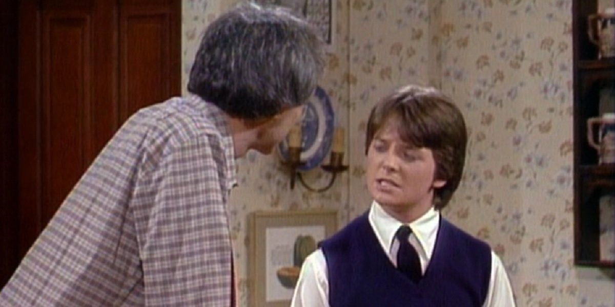 Michael J. Fox and Michael Gross in Family Ties