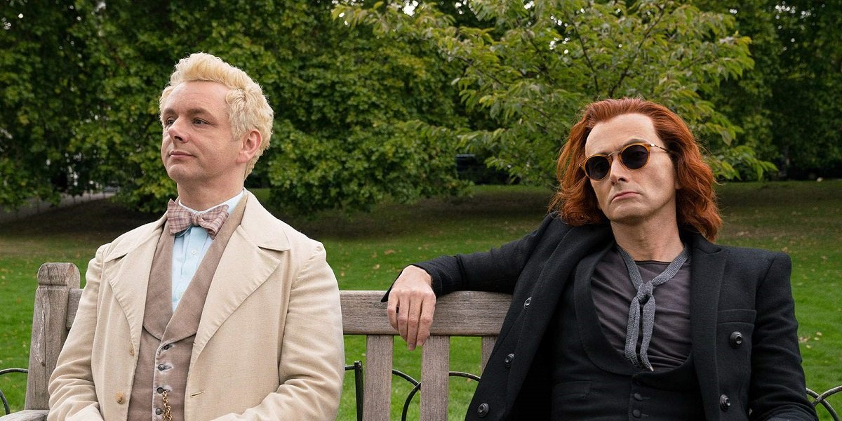 Michael Sheen and David Tennant asAziraphale and Crowley in Good Omens