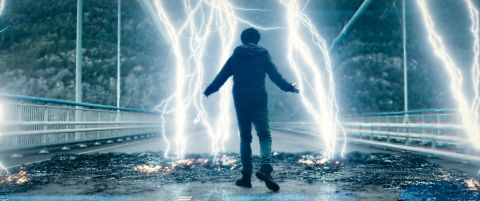 Eric (Nat Wolff) summoning lightning in 'Mortal'.