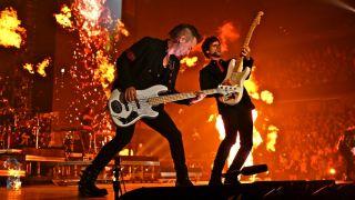 Bassist Derek Frank on stage