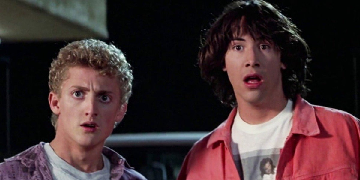 Ted and Bill look stunned in 'Bill & Ted's Excellent Adventure'
