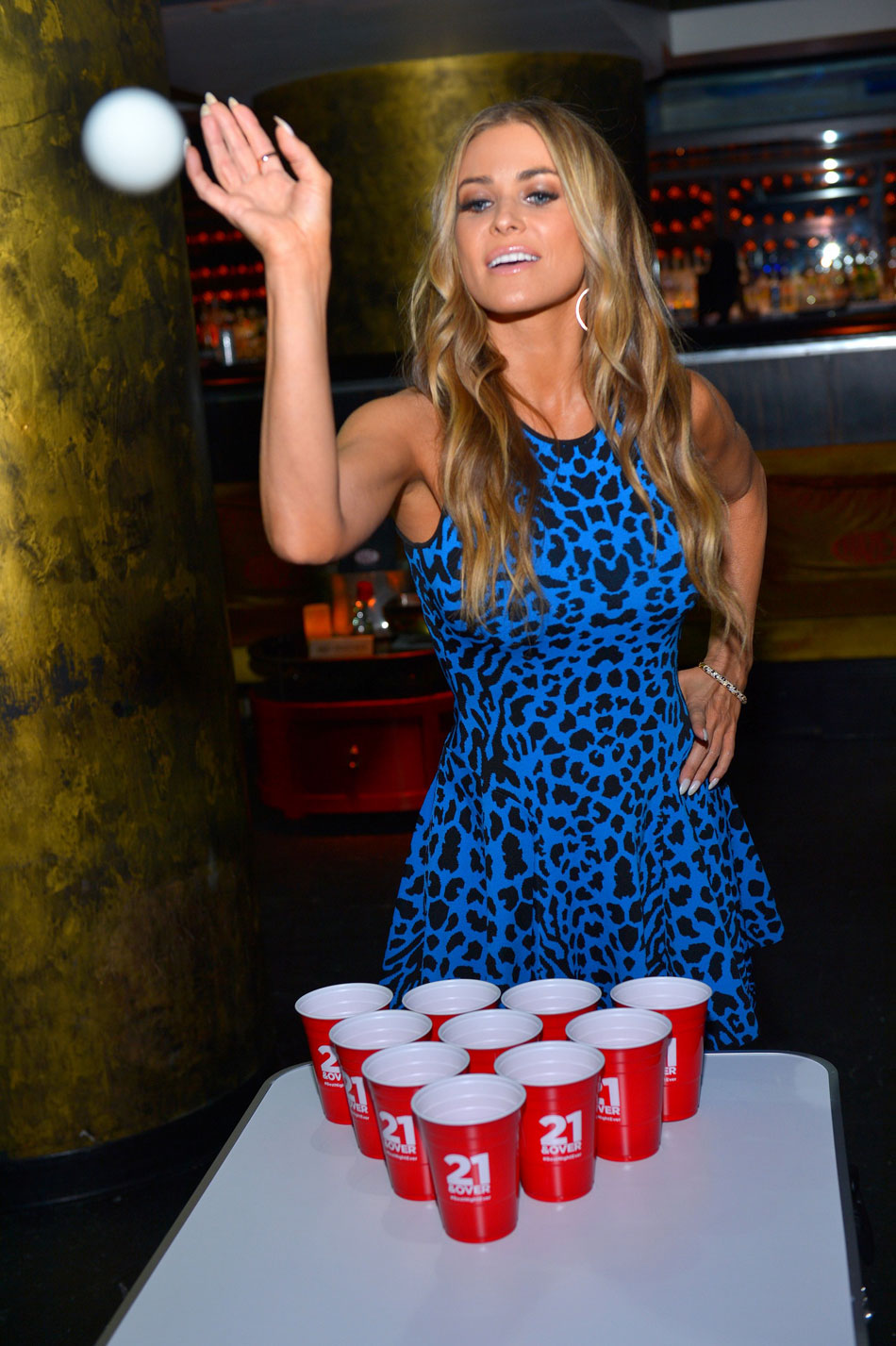 Check Out Carmen Electra Playing Beer Pong At 21 & Over Premiere #27210