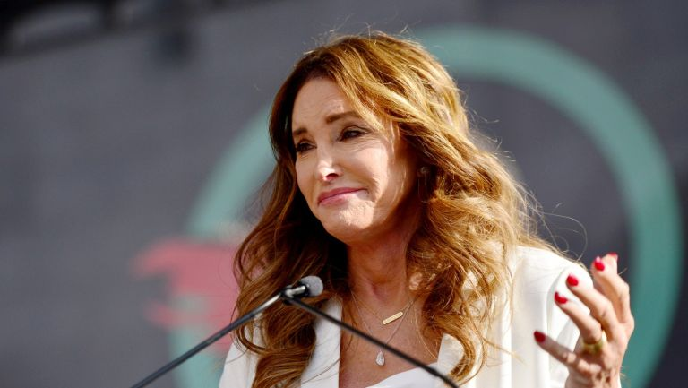 Caitlyn Jenner speaks at the 4th annual Women's March LA: Women Rising at Pershing Square on January 18, 2020 in Los Angeles, California.