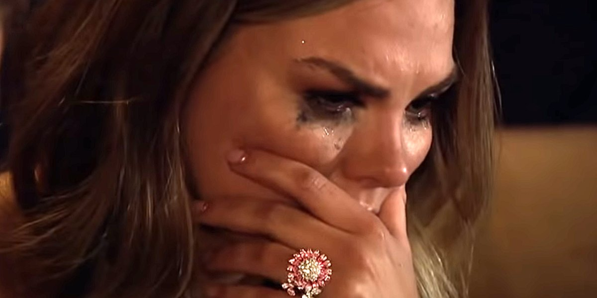 Hannah Brown cries to Bachelor Peter Weber in The Bachelor 2020 premiere on ABC