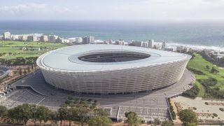 Lions vs South Africa live stream live stream: aerial shot of Cape Town Stadium set against dreamy coastal background