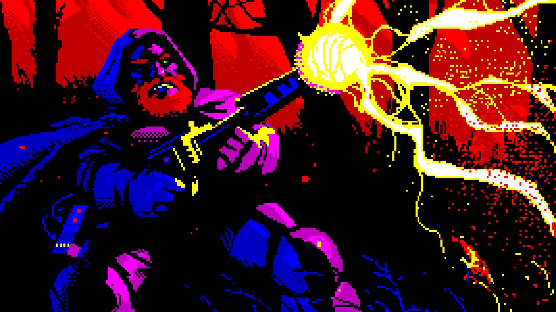 A dwarf fires a gun