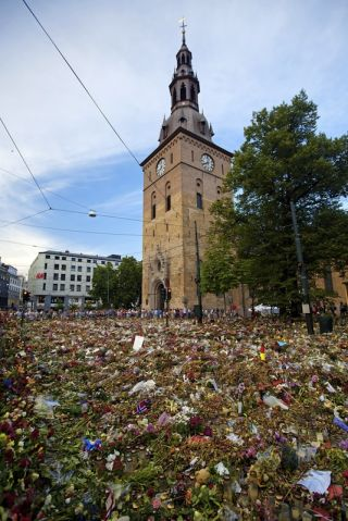 Flowers for the victims of Anders Breivik's shooting rampage.