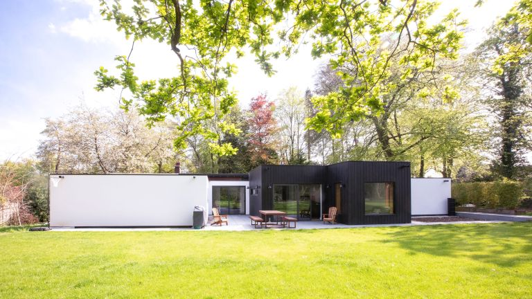 Claire and Paul Franklin's extended bungalow in Studham has mid-century monochrome style