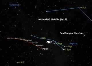 Asteroid Palls in Constellation Sagiita Sky Map