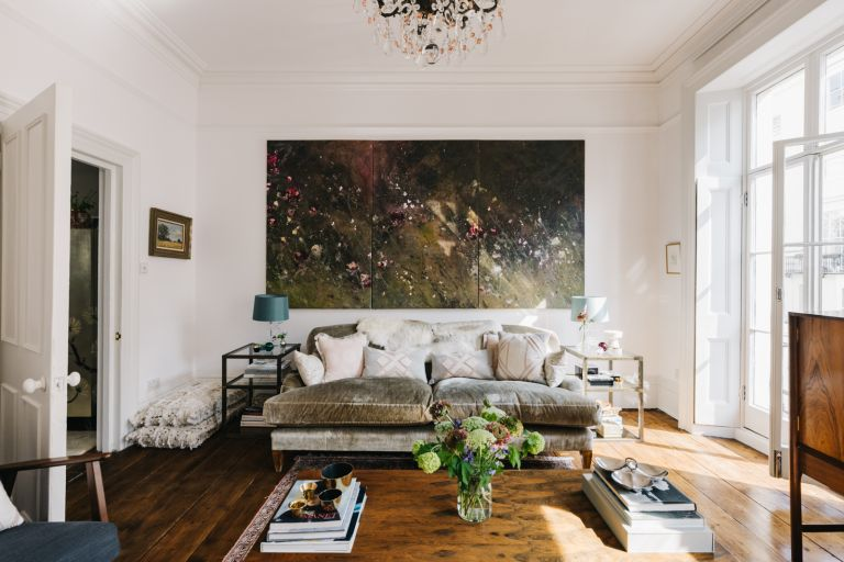 white living room with statement art