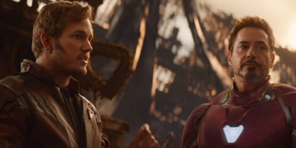 Star-Lord and Iron Man talking in the Infinity War trailer