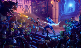 Two hero characters stand in the center of two staircases. They stand in defensive poses with a gun and a bow and arrow, as they are surrounded by hostile orcs.