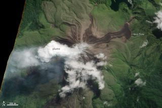 A new lava flow was spotted on Bagana volcano by a NASA satellite on May 16.