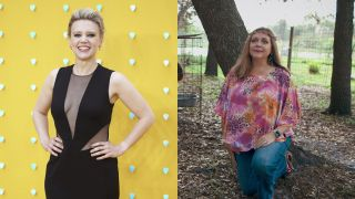 "Kate McKinnon, left, will star as Carole Baskin (right) and executive produce ""Joe Exotic"" on NBC, Peacock and USA."