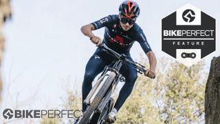 Tom Pidcock jumping his BMC mountain bike