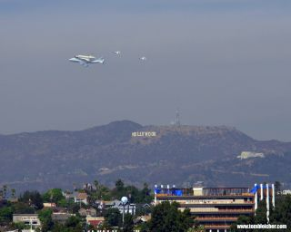 Endeavour flying over Los Angeles