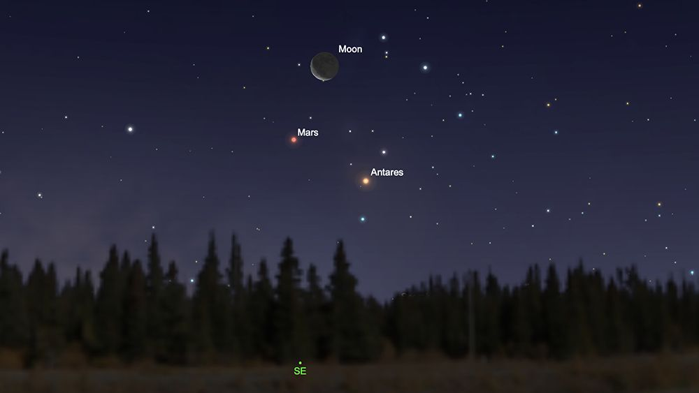 See the moon, Mars and Antares form a triangle in Monday's predawn sky - Space.com