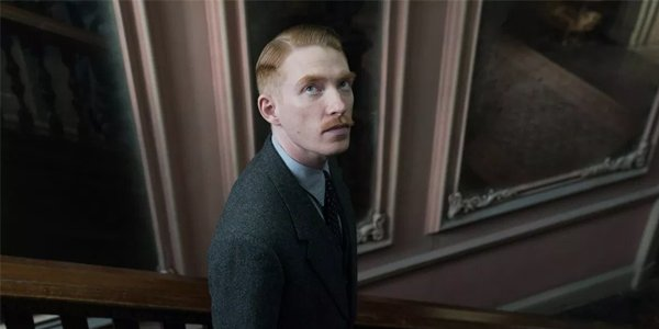 The Little Stranger Domhnall Gleeson Faraday looking up in Hundreds Hall