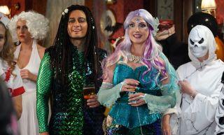 EastEnders Honey Mitchell and Adam Bateman in Halloween fancy dress