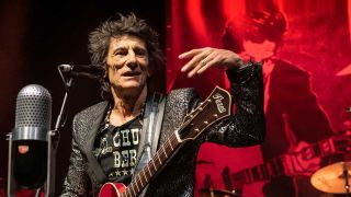 Ronnie Wood onstage at London's Shepherd's Bush Empire