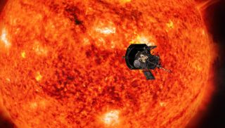 An artist's depiction of NASA's Parker Solar Probe at work observing the sun.