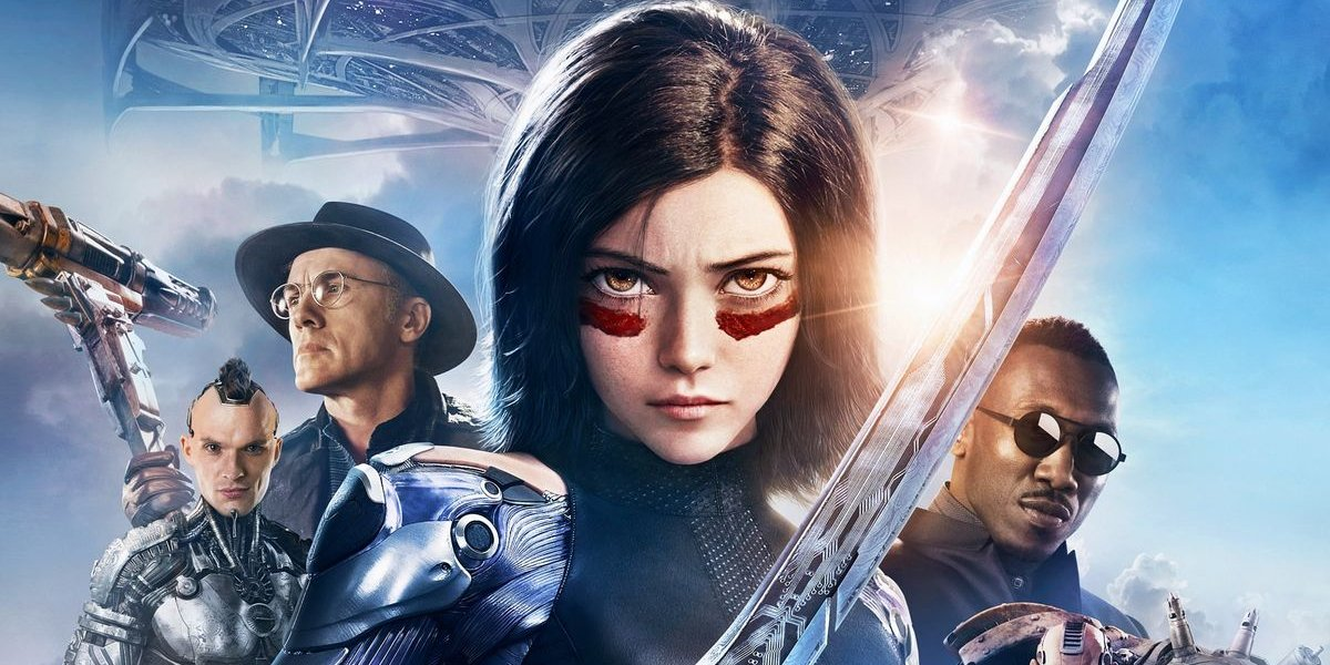 Alita: Battle Angel characters lined up in front of Zalem